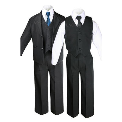Leadertux 6pc 5 6 7 8 10 12 14 16 18 20 Kid Teen Boys Black Suits Tuxedo Formal Wedding ...
