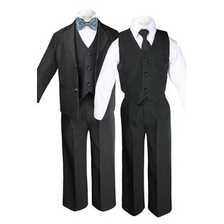 Leadertux 6pc S M L XL 2T 3T 4T Baby Toddler Boys Black Suits Tuxedo Formal Wedding Party Outfits Extra Dark Gray Bow Tie Set PartNumber: 00000000000000030086Tux013B503DGS-4TP