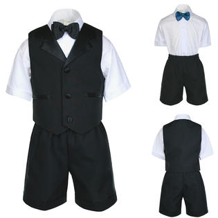 Unotux UnoTux 5pc S M L XL 2T 3T 4T Baby Toddler Boys Black Short Vest Sets Suits Formal Wedding ...