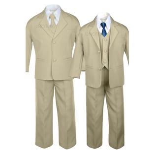 LEADERTUX Leadertux 6pc S M L XL 2T 3T 4T Baby Toddler Boys Khaki Suits Tuxedo Formal Wedding Party Outfits ...