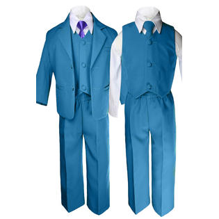 Leadertux 6pc 5 6 7 8 10 12 14 16 18 20 Kid Teen Boys Teal Suits Tuxedo Formal Wedding ...
