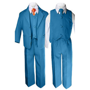 LEADERTUX Leadertux 6pc 5 6 7 8 10 12 14 16 18 20 Kid Teen Boys Teal Suits Tuxedo Formal ...