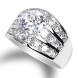JamesJenny Ladies Rhodium Plated Fashion Round Brilliant Cut Cubic Zirconia CZ  Ring (size 4-10) at Sears.com