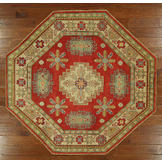 UN Rug New Traditional Antiqued Persian Kazak 6' Octagon Red with Multiple Color Border Hand Knotted Rug - H3427 at Sears.com