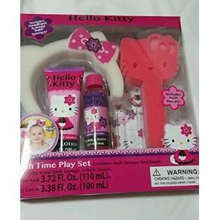 Hello Kitty Bath Time Play Set Sponge Headband Bath Wash Body Lotion Decals
