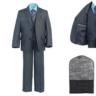 Unotux UnoTux 5pc Toddler Boys Teens Dark Blue Formal Wedding Classic Suits Vest Tie Sets 2-20