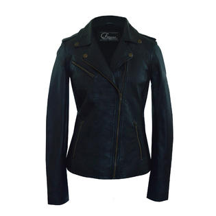 Faneema Women's Aurore Moto Leather Jacket With Off Center Vertical Zip, Large, Black at Sears.com