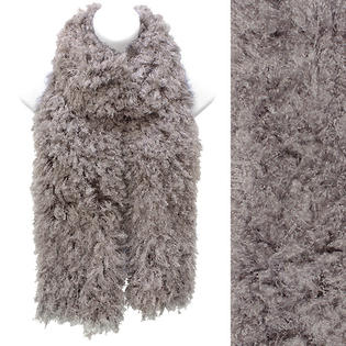 Accessoriesforever Soft Luxurious Synthetic Faux Curly Fur Long Puffy Scarf Gray Taupe
