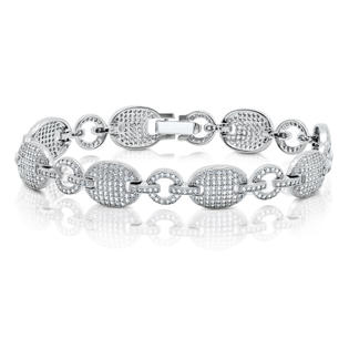 DTLA Fine Jewelry Oval & Round Shape Link Signity Diamond Ladies Link Bracelet Solid Sterling Silver .925 Micro Pave