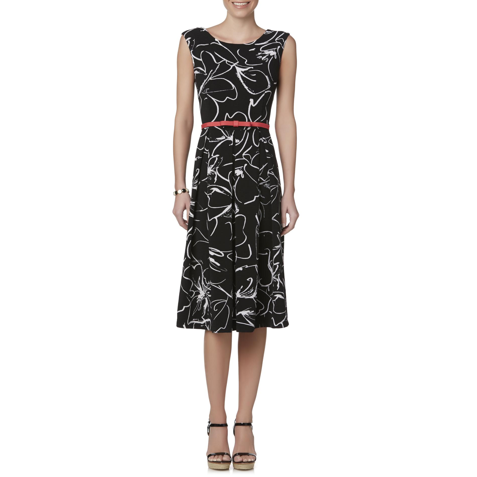 Julian Taylor Women's Belted Fit & Flare Dress - Abstract Print 031VA95120512P