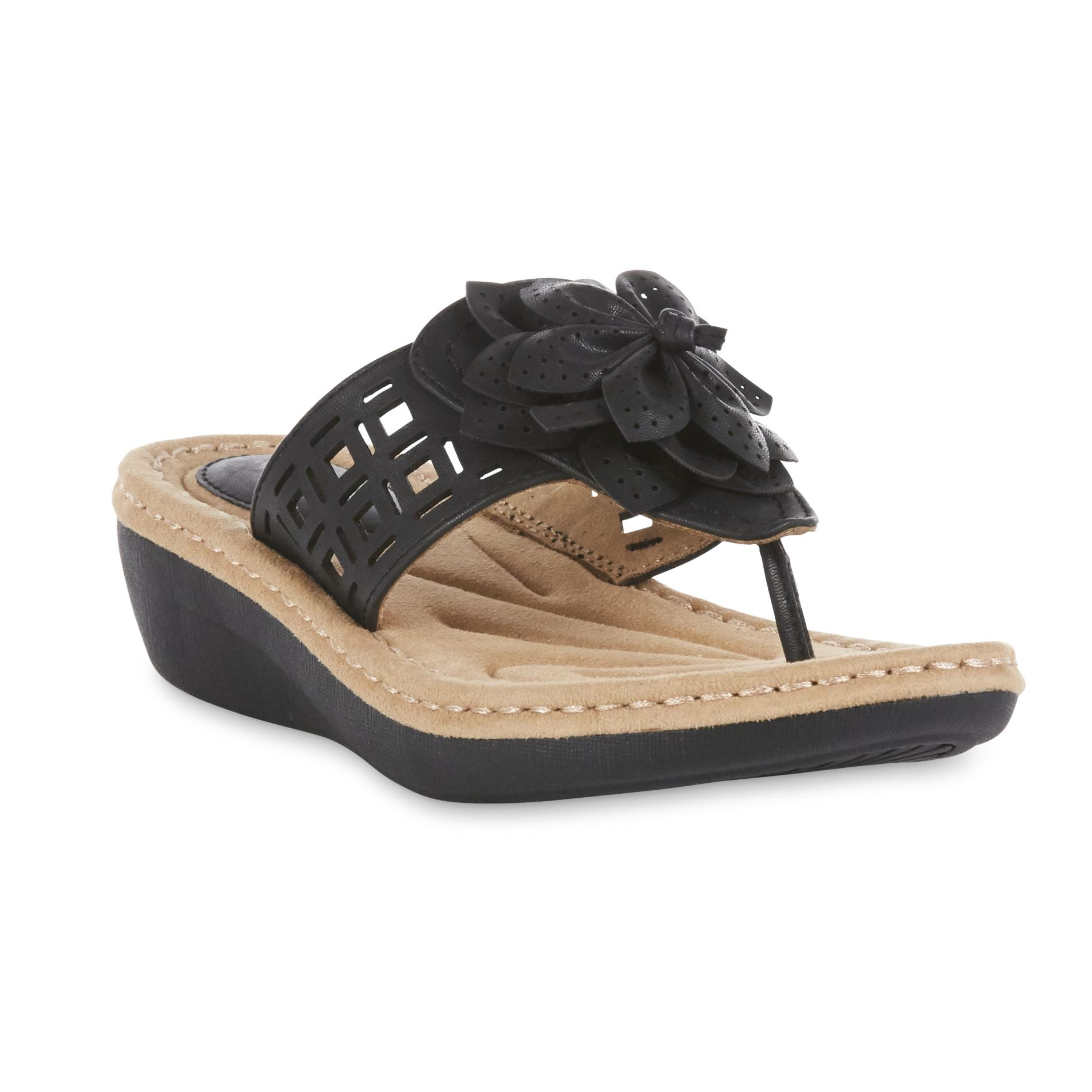 Cobbie Cuddlers Women S Black Miracle Wedge Thong Sandal