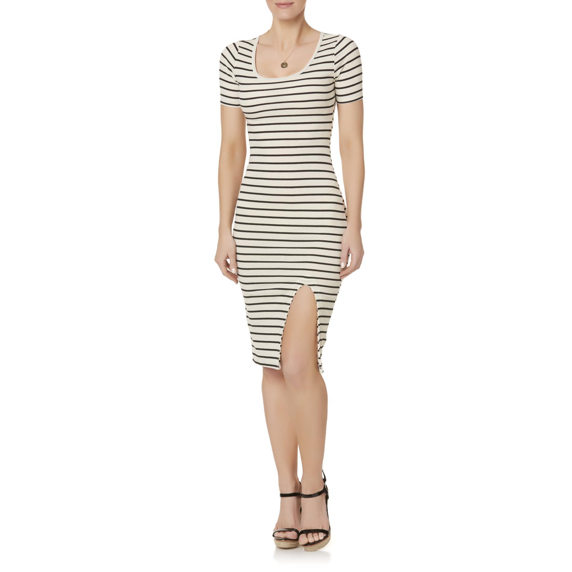 Attention Women's Rib Knit Midi Dress - Striped PartNumber: 027VA95305712P MfgPartNumber: 5P68-2