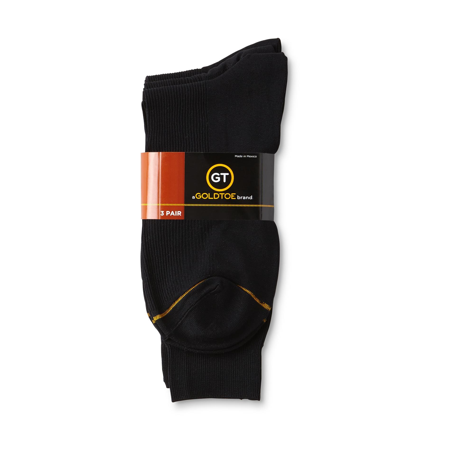 Gold Toe Men S 3 Pairs Crew Dress Socks