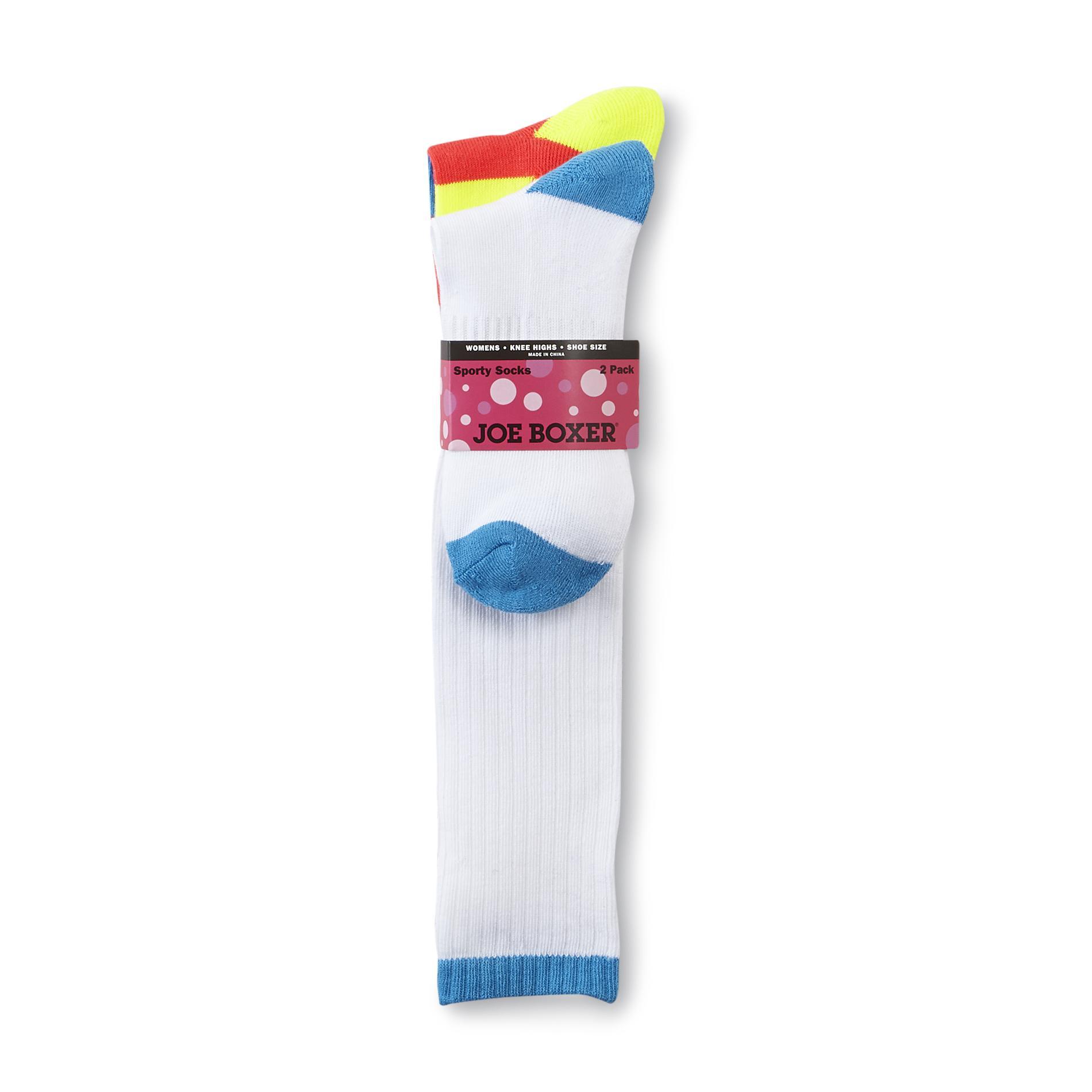 Women's 2-Pairs Knee Socks - Neon Striped