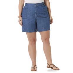 Basic Editions Women's Plus Chambray Shorts at Kmart.com