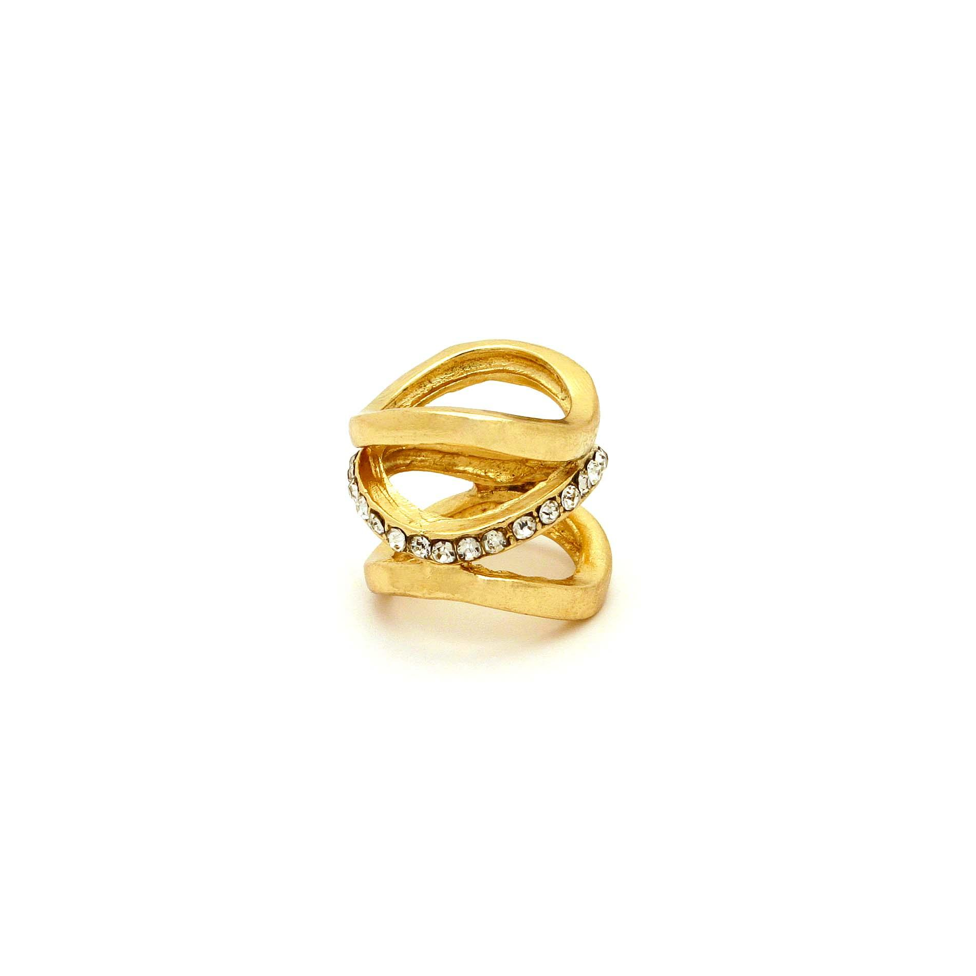 Attention Women's Goldtone & Rhinestone Cutout Ring