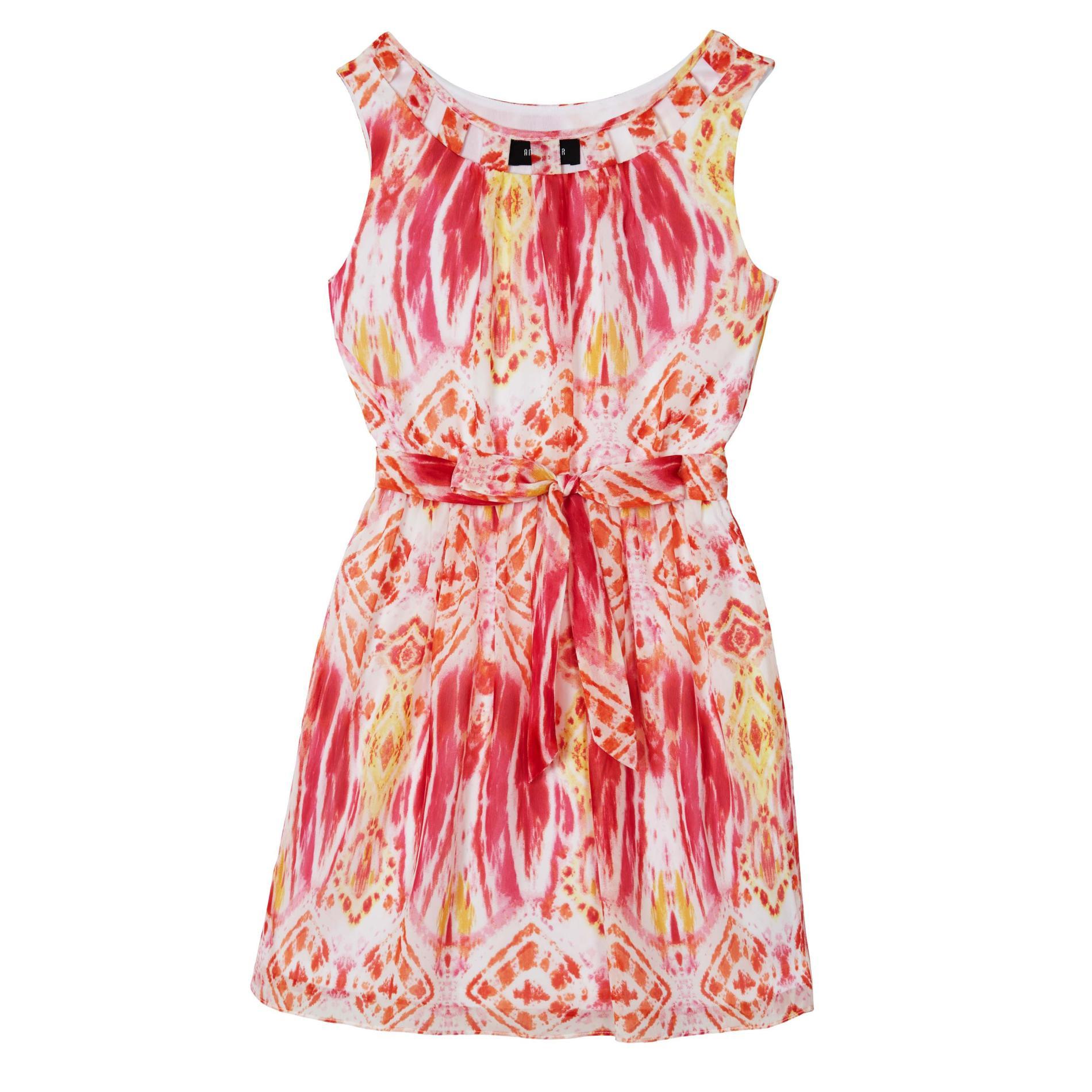 Amy's Closet Girl's Chiffon Dress & Belt - Batik Print