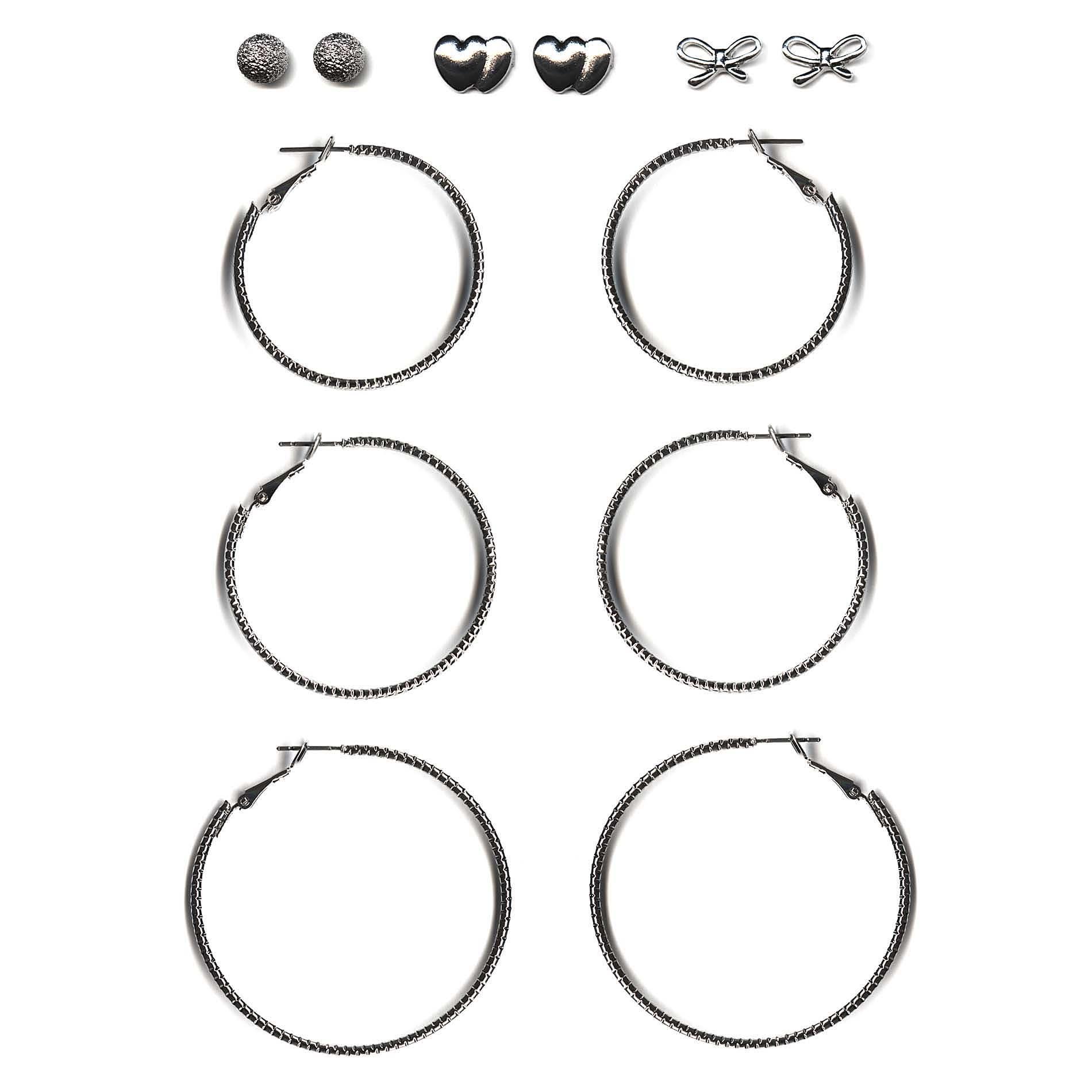 Attention Women's 6-Pairs Silvertone Earrings