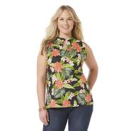 Basic Editions Women's Plus Sleeveless Tunic Top - Tropical at Kmart.com