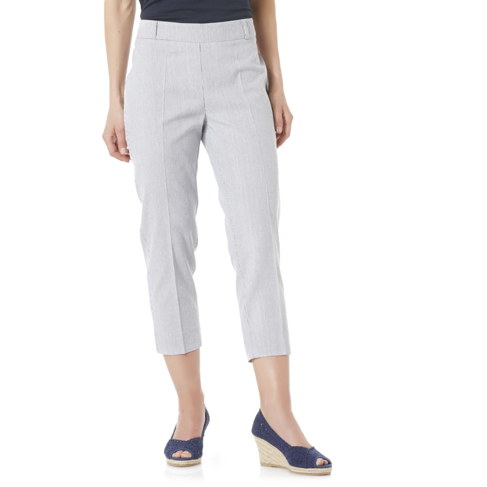 Basic Editions Women's Seersucker Capri Pants - Striped