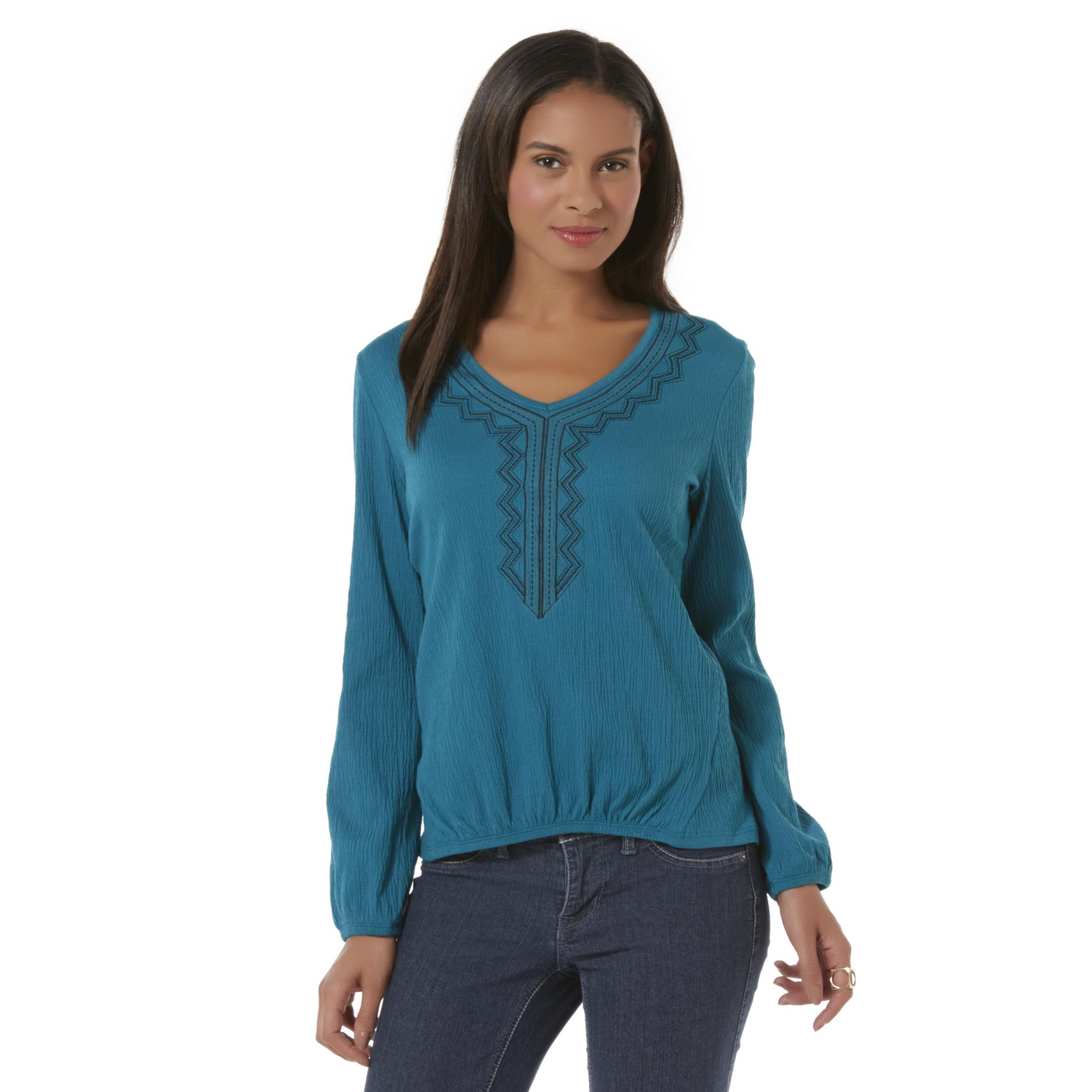 Canyon River Blues Women's Embroidered Crinkle Knit Top - Tribal