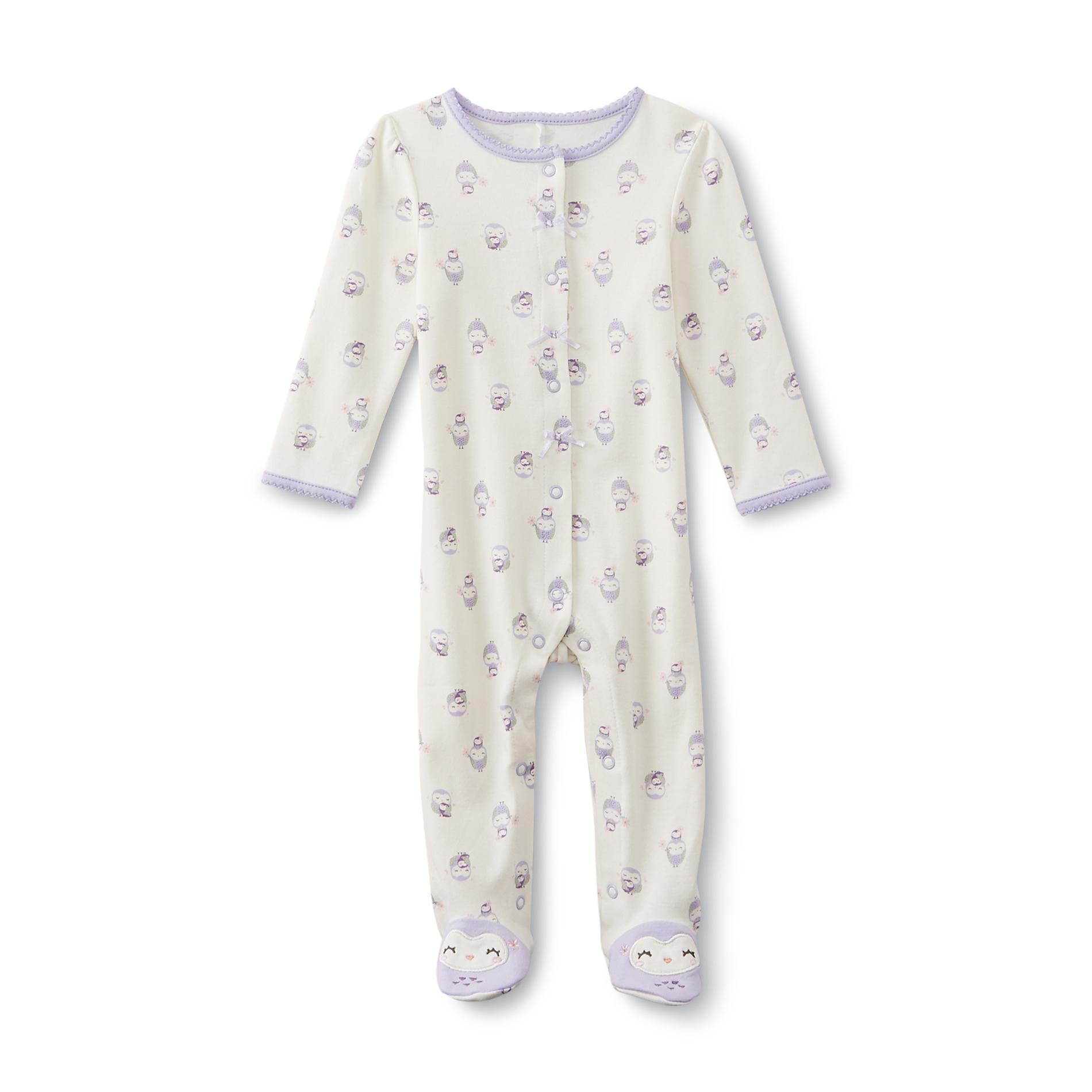 Little Wonders Newborn Girl's Footed Pajamas - Owl