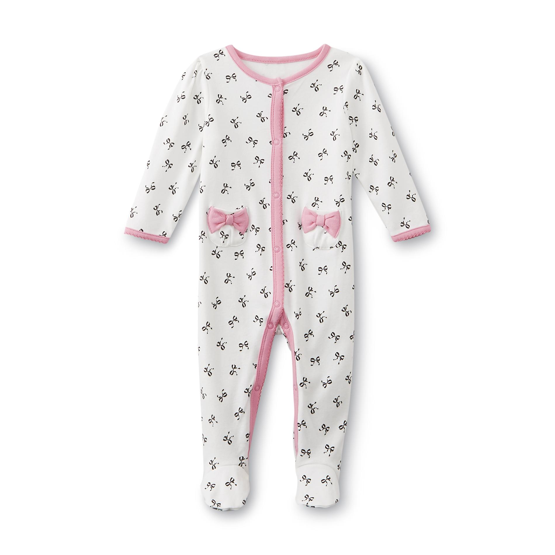 Little Wonders Newborn Girl's Footed Pajamas - Bows