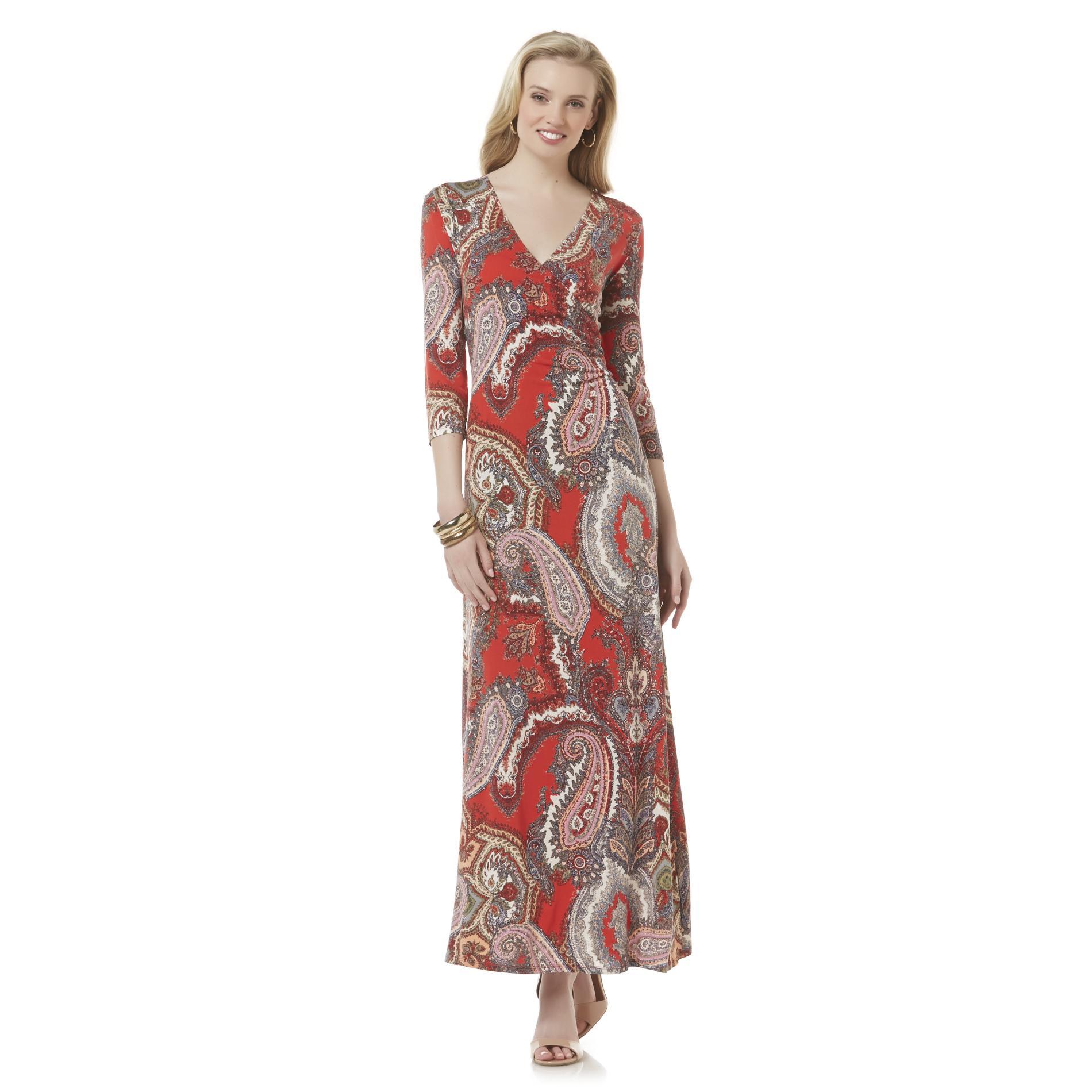 JBS Women's V-Neck Maxi Dress - Floral & Paisley Print