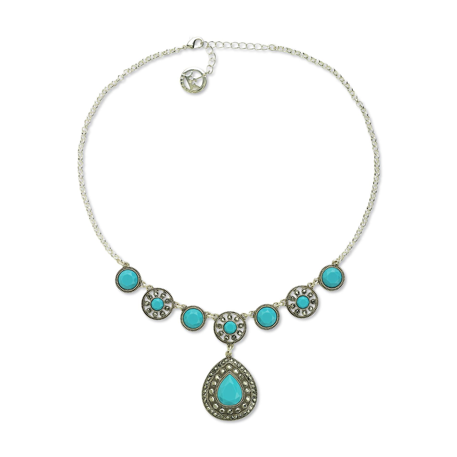 Trifari Women's Silvertone Imitation Turquoise Y-Necklace