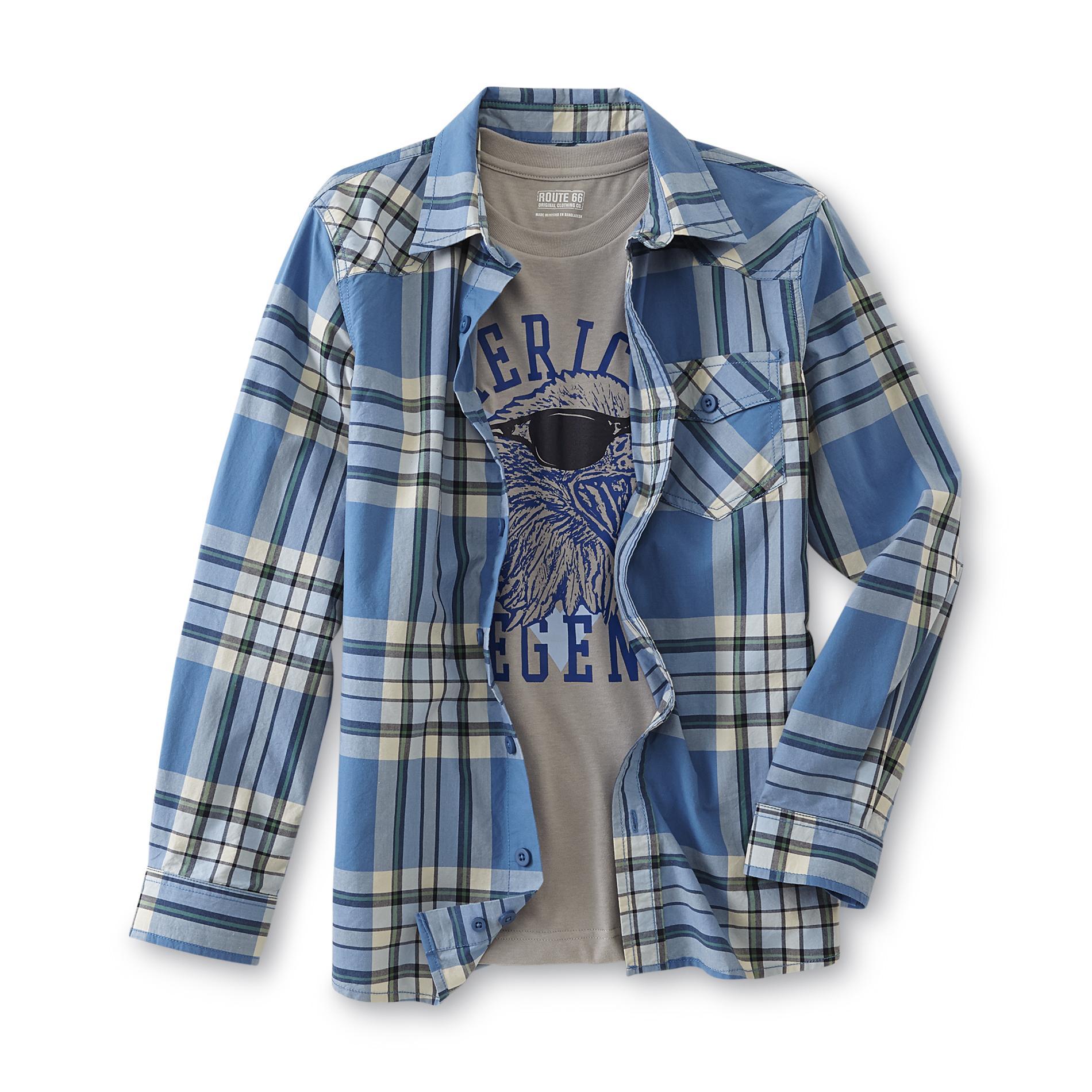 Route 66 Boy's Button-Front Shirt & T-Shirt - American Legend