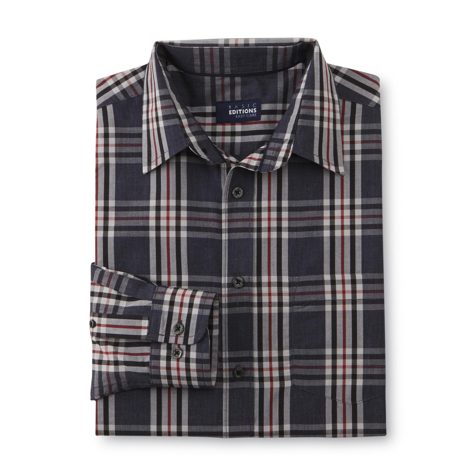 Basic Editions  Men's Easy Care Button-Front Shirt - Plaid