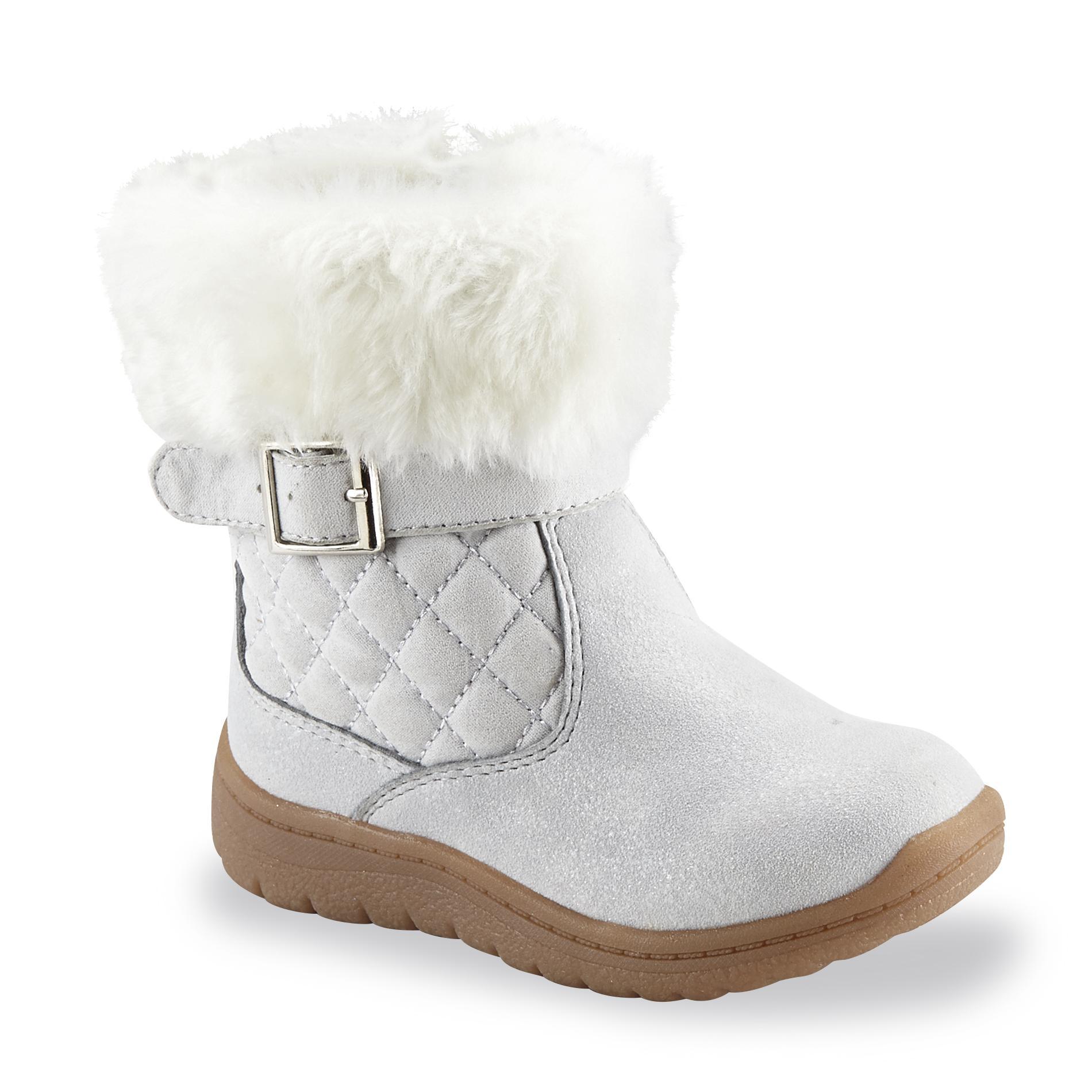 OshKosh Toddler Girl's Honey Gray/Silver/White Winter Snow Boot