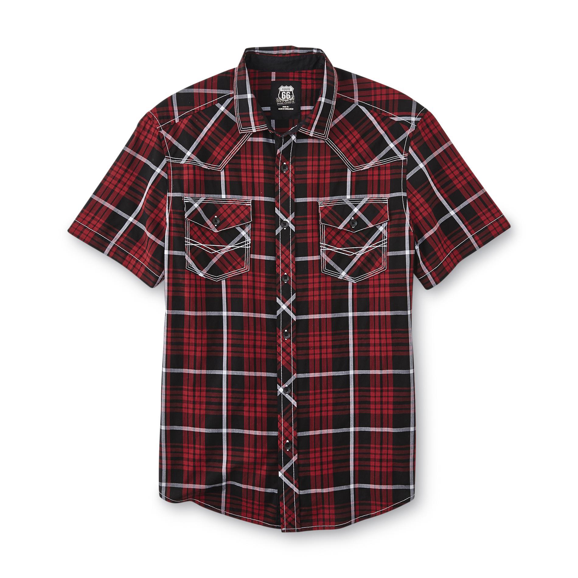 Men's Button-Front Poplin Shirt - Plaid