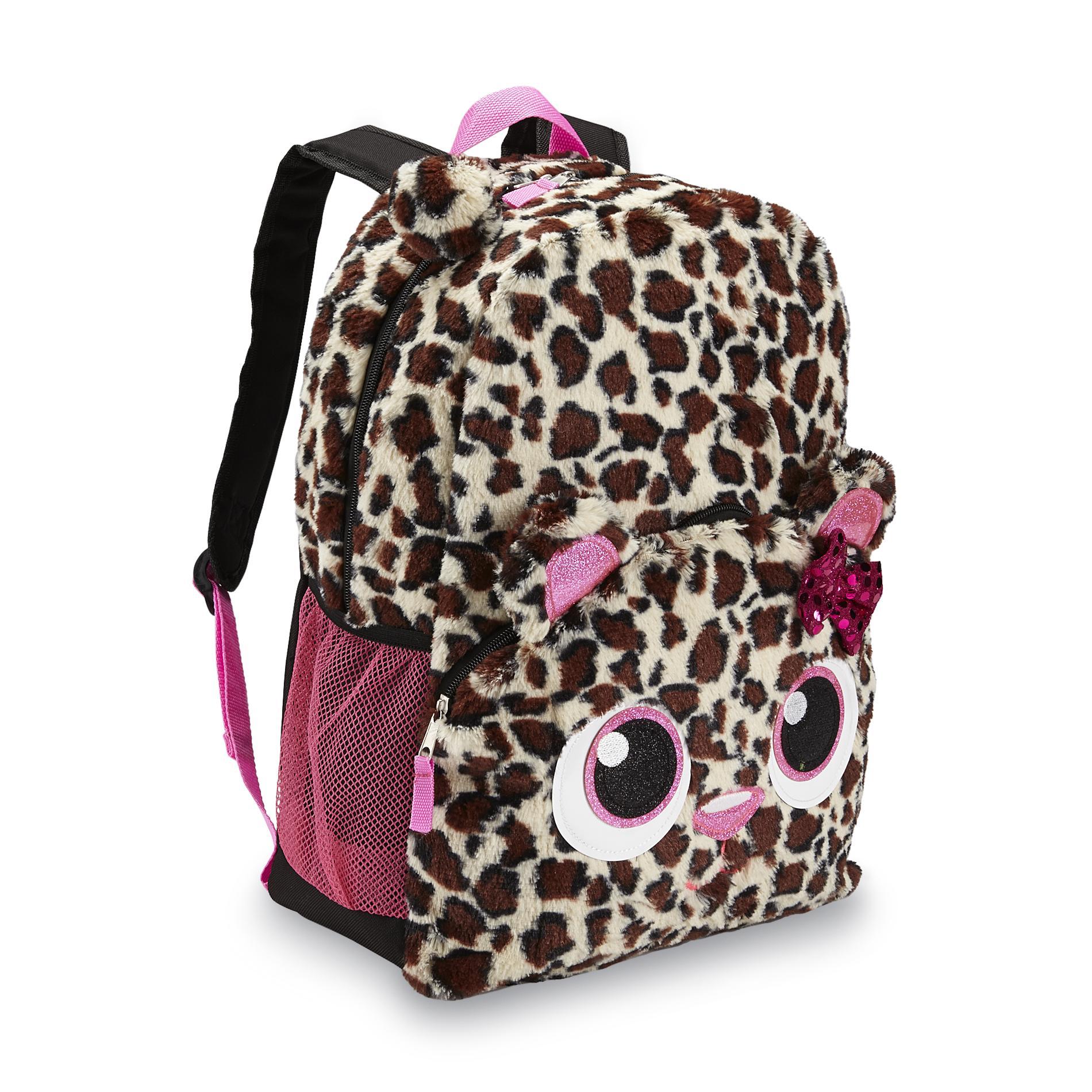 Girl's Faux Fur Embellished Backpack - Cheetah