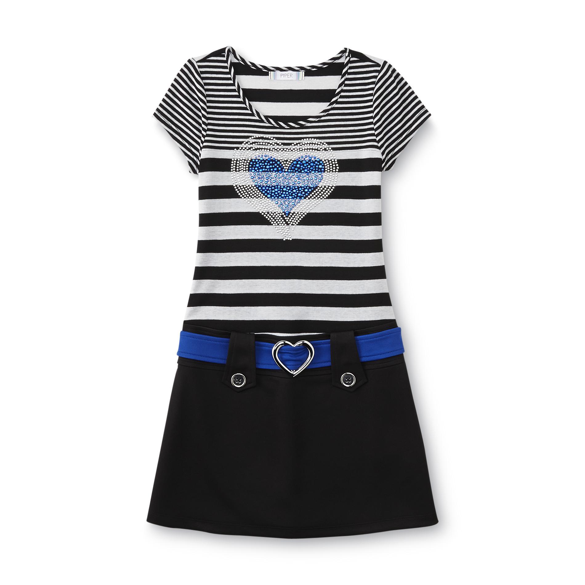 Piper Girl's Marsha Drop Waist Dress - Heart