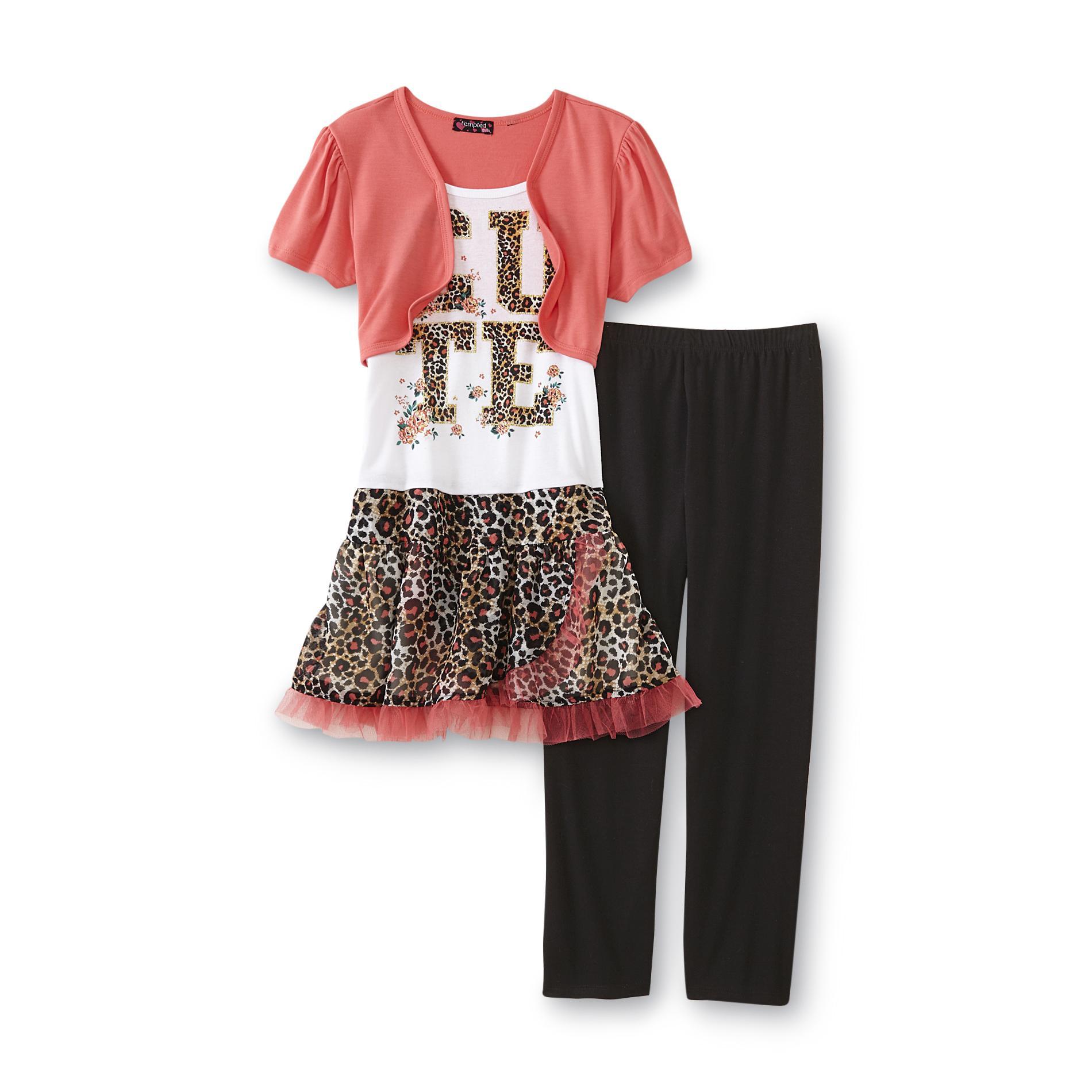 Tempted Girl's Layered-Look Dress & Leggings - Cheetah Print