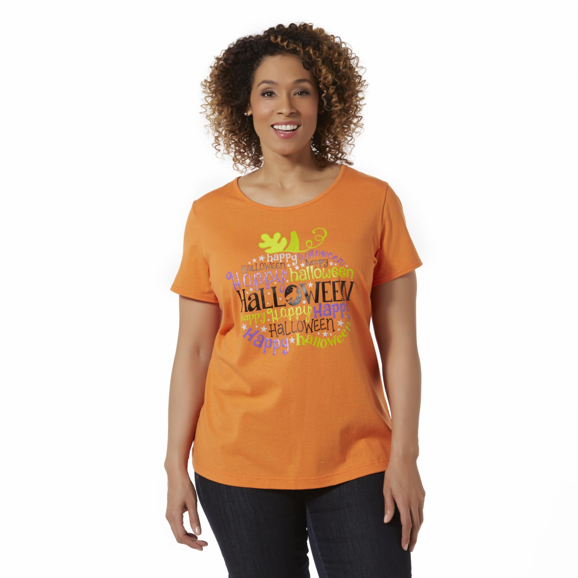 Women's Plus Graphic T-Shirt - Happy Halloween