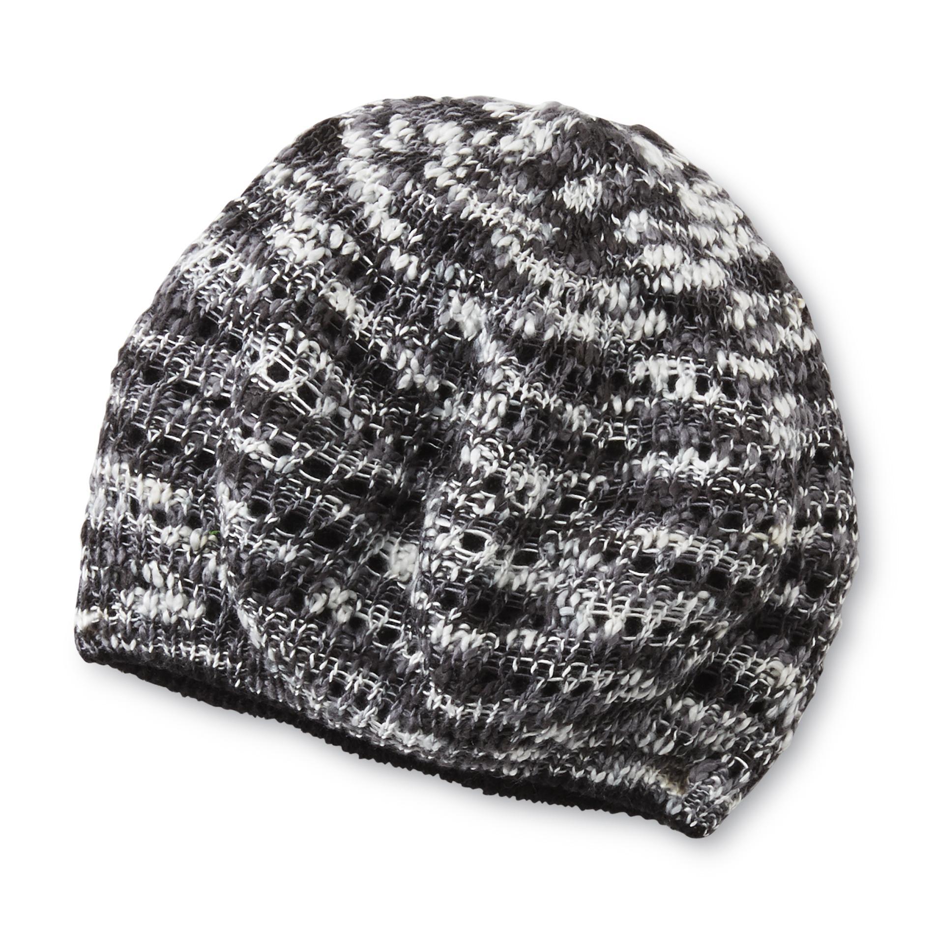 Joe Boxer Women's Reversible Crochet Beanie Hat - Space-Dye