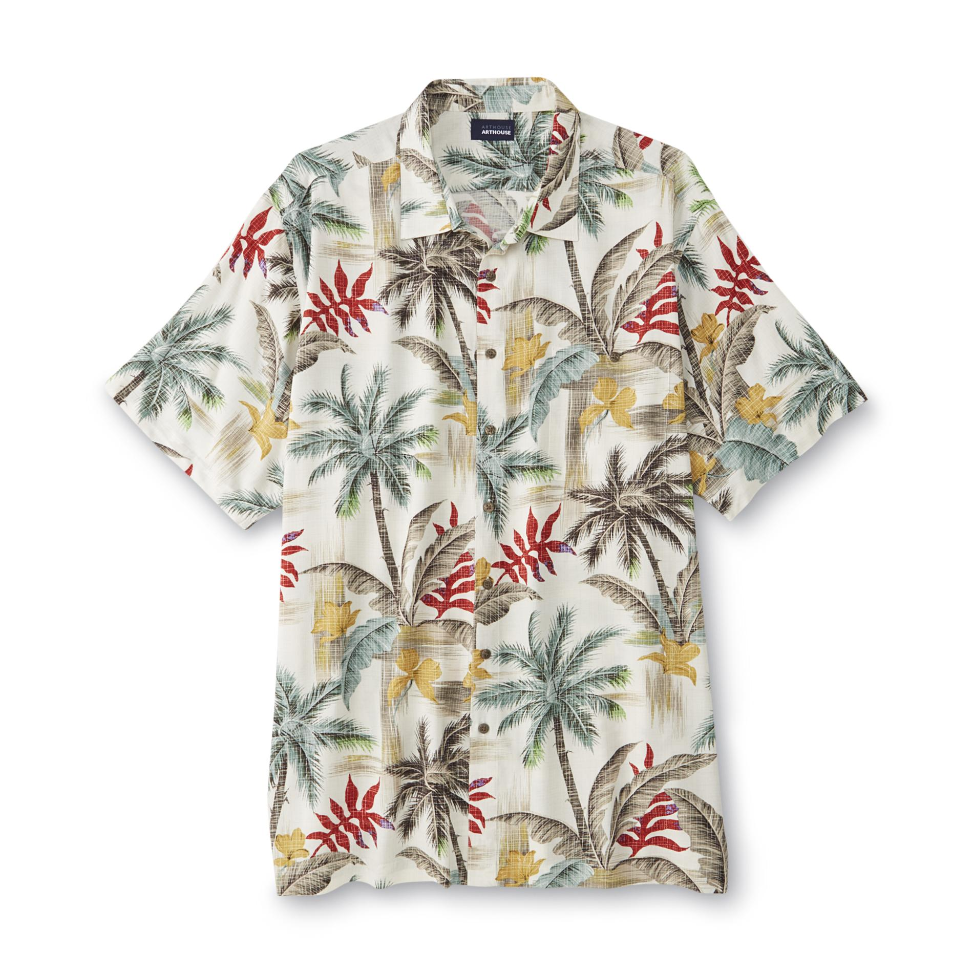 Basic Editions Men's Big & Tall Hawaiian Shirt - Palm Tree Print