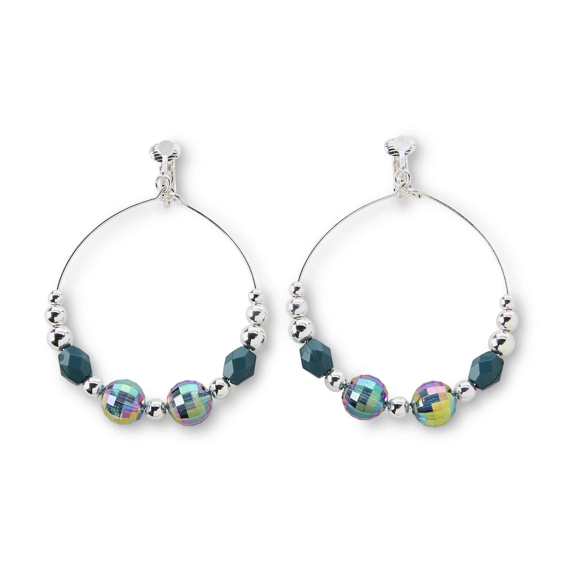 Jaclyn Smith Women's Silvertone Beaded Hoop Clip-On Earrings