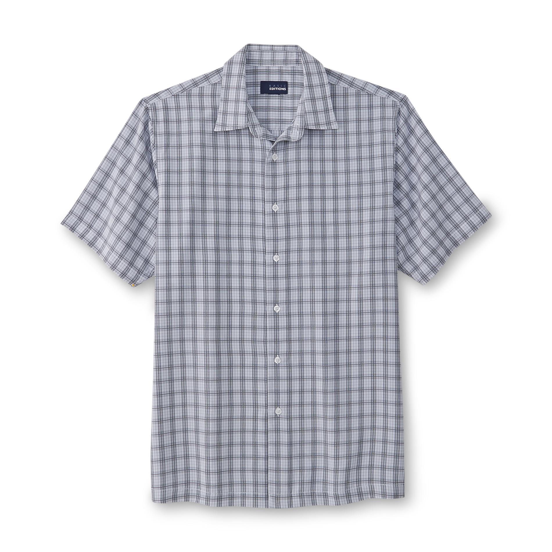 Basic Editions Men's Short-Sleeve Microfiber Shirt - Plaid