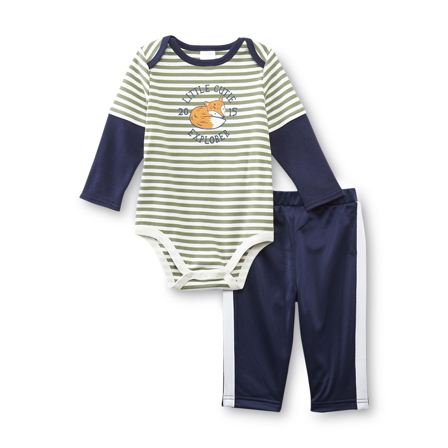 Small Wonders Newborn Boy's Bodysuit & Track Pants - Striped & Fox