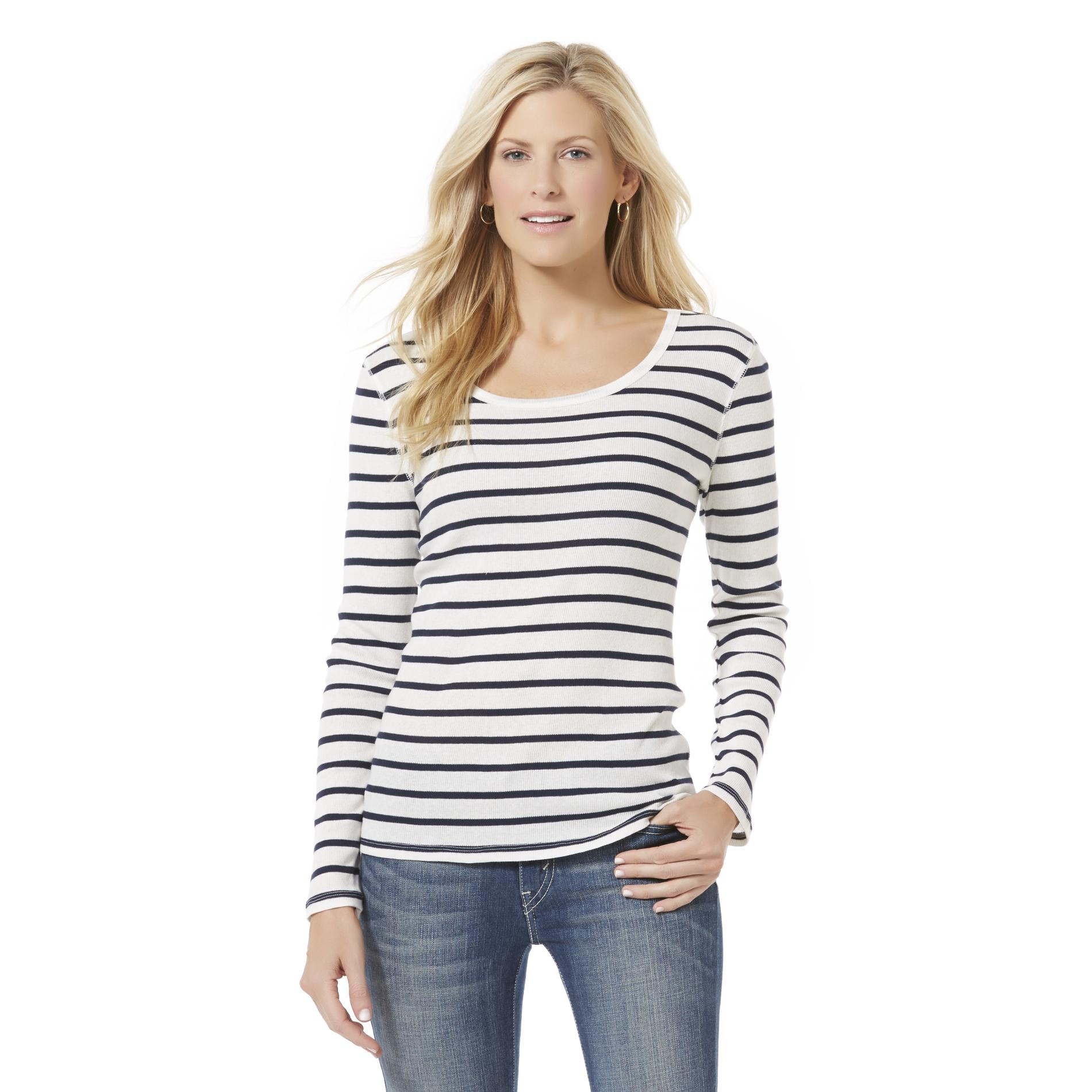 Basic Editions  Women's Scoop Neck T-Shirt - Striped