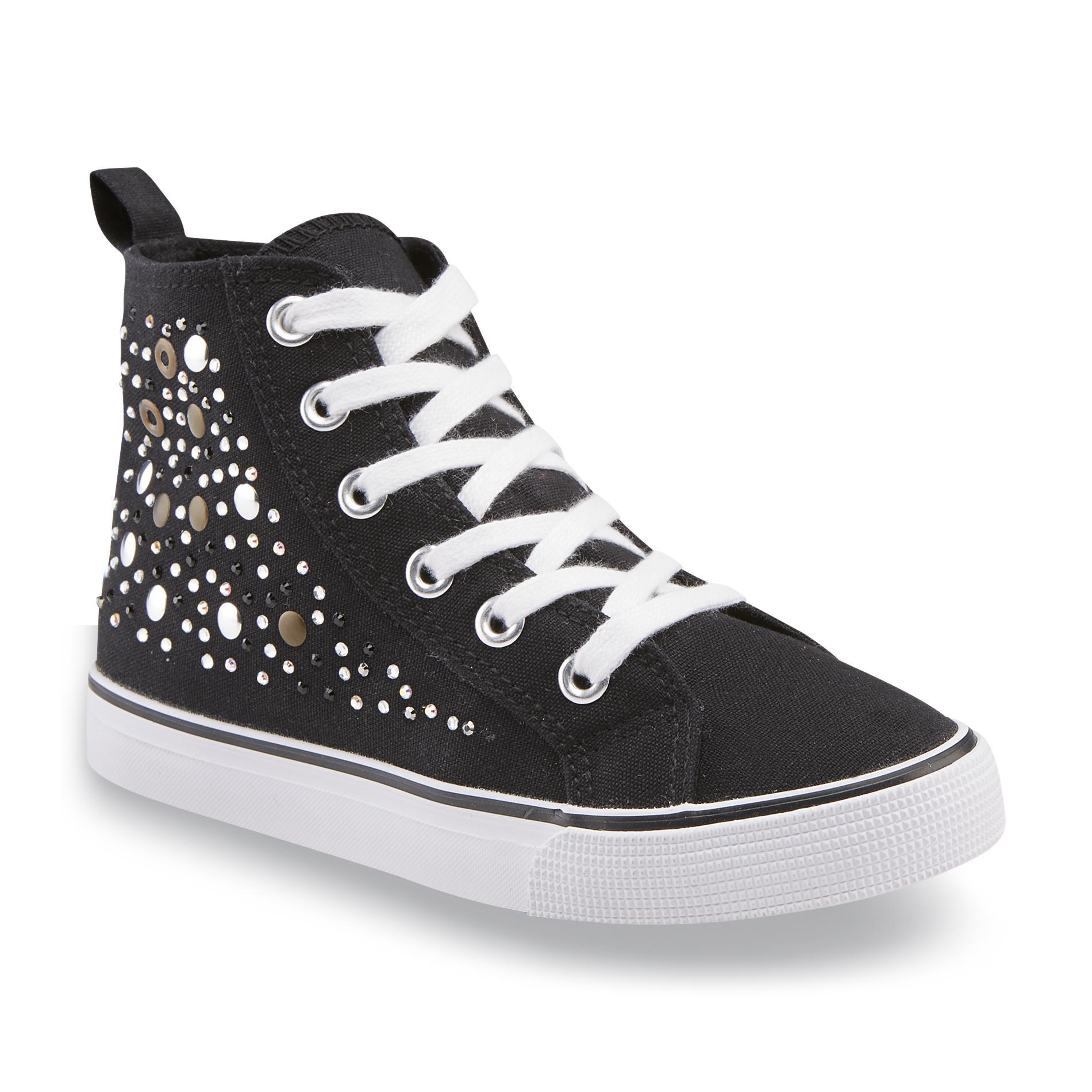 Girl's Laura Black Embellished High-Top Shoe