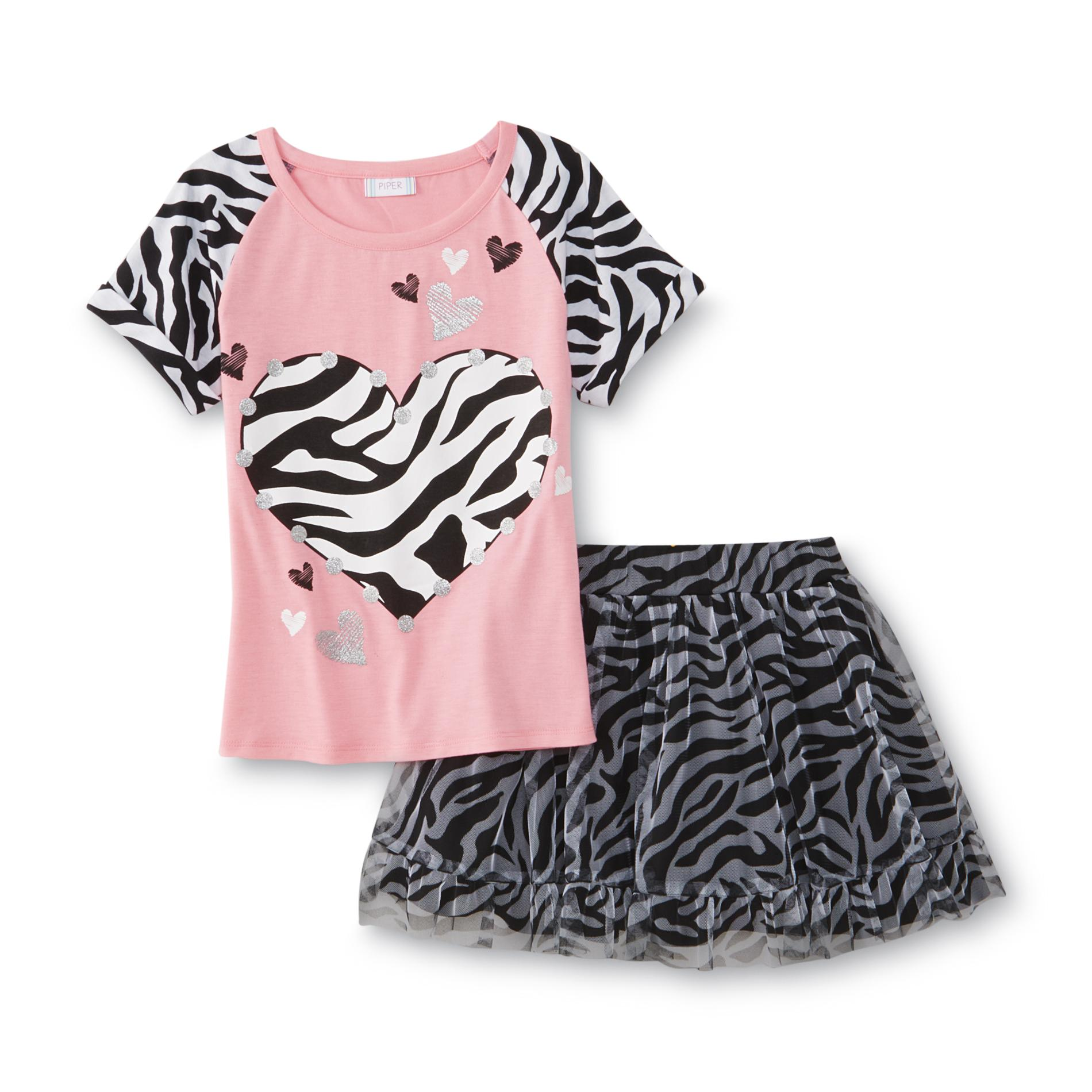 Piper Girl's Graphic T-Shirt & Skirt - Hearts & Zebra Print PartNumber: 049VA82720812P MfgPartNumber: 22522VMKM