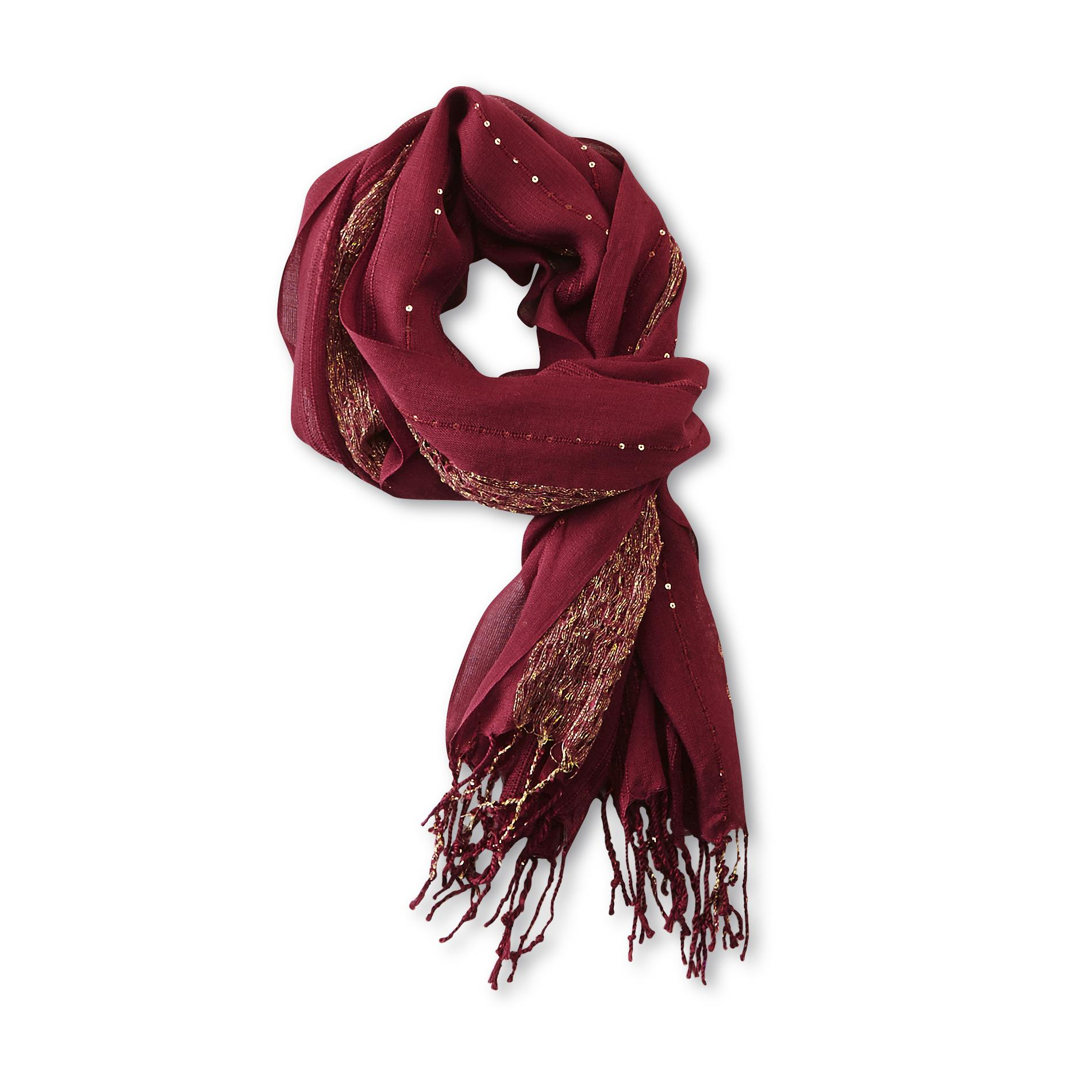 Joe Boxer Women's Sheer Scarf - Striped