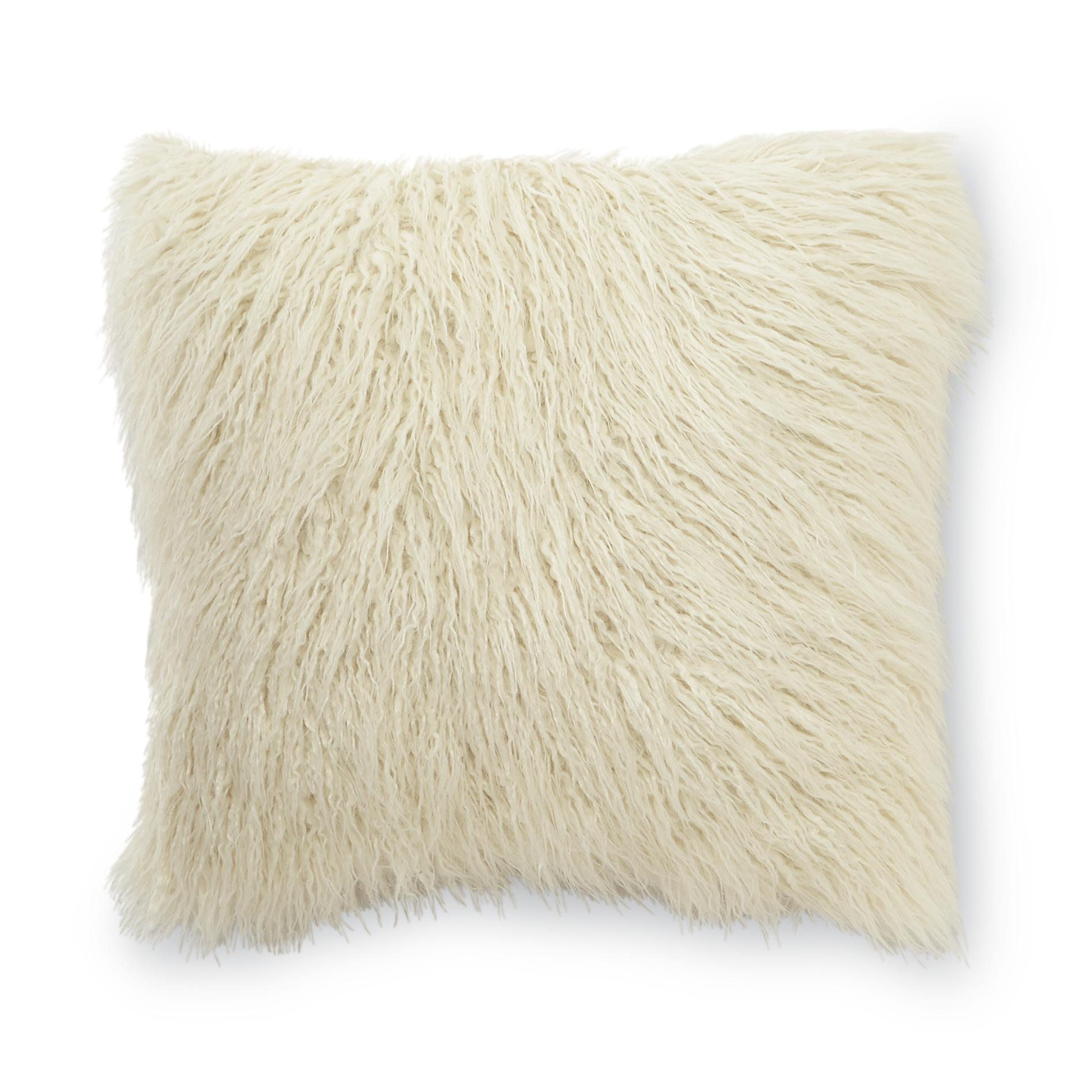 Decorative Pillows Kmart : Essential Home Mongolian Faux Fur Square Decorative Pillow