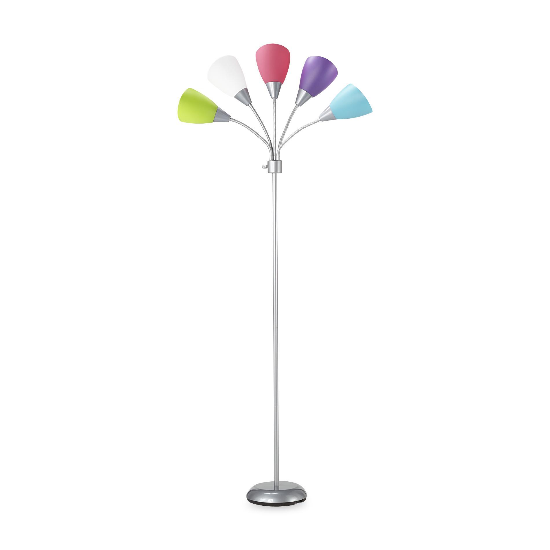 Essential Home Chrome/Multicolor 5-Head Gooseneck Floor Lamp
