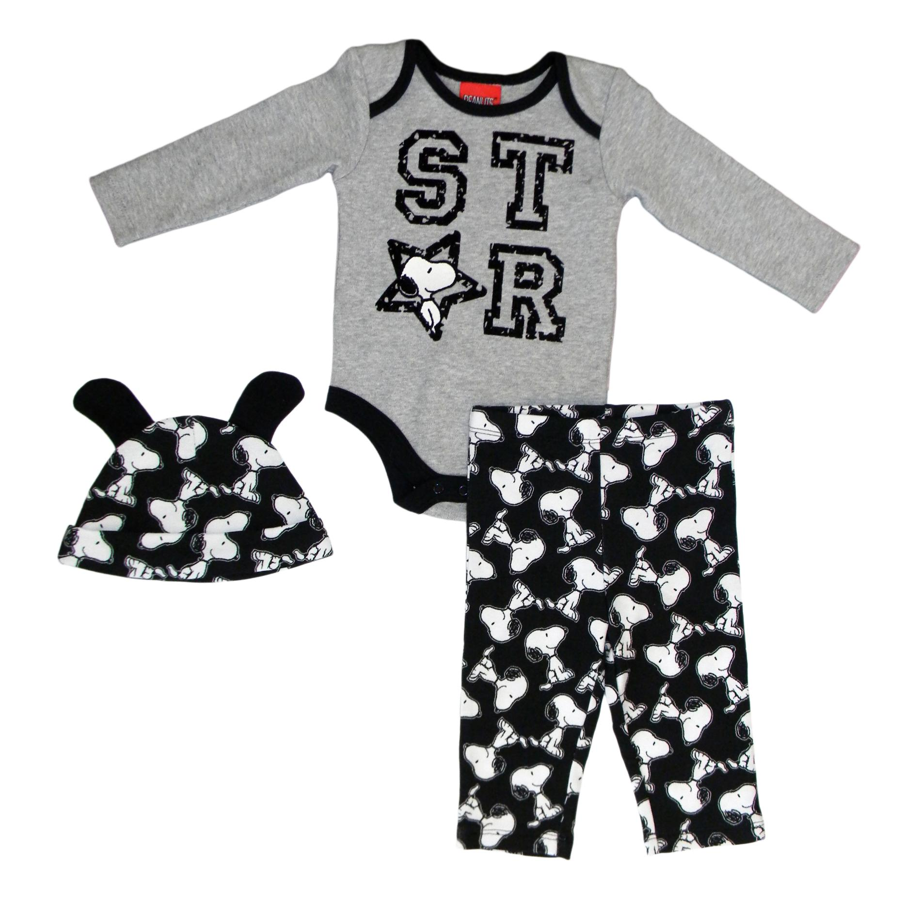 Snoopy Infant's Graphic Bodysuit Pants & Hat - Star