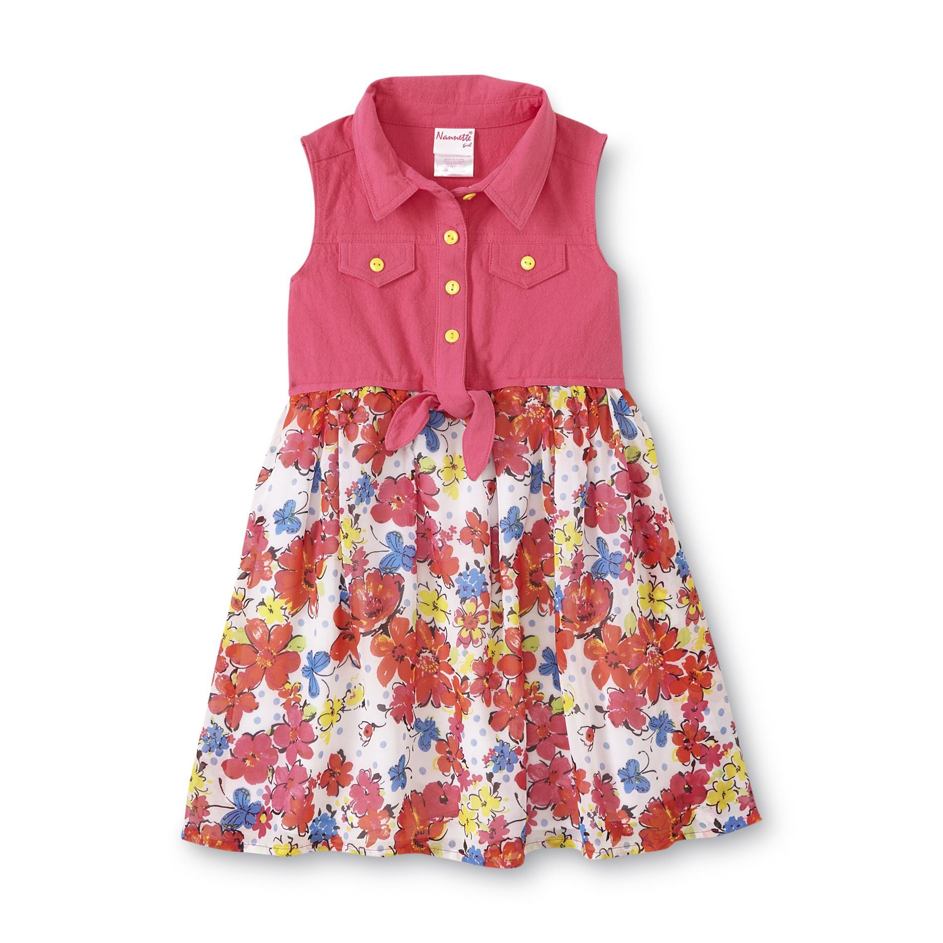 Nanette Girl's Sleeveless Casual Dress - Floral